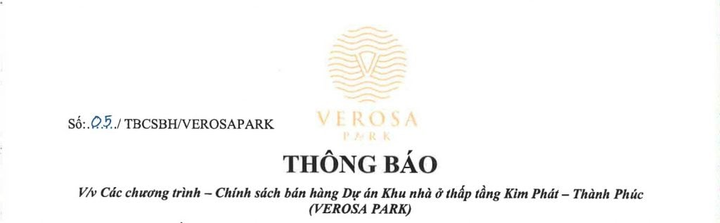 Chính sách bán hàng Verosa Park tháng 12-2019