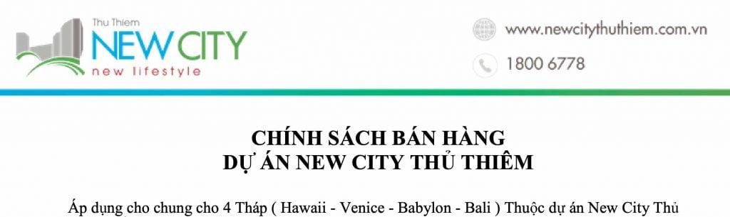 Chính sách bán hàng dự án New City Thủ Thiêm tháng 02-2020