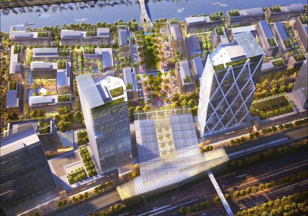 Phối cảnh 2 tòa văn phòng và trung tâm thương mại Saigon Quays